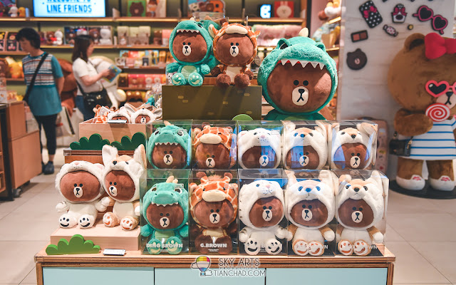 Line Friends Flagship Store - Cute Brown plush toy in dog, dragon, giraffe husky corgy outfit