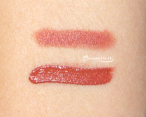Swatches: Nudestix Bell, Smashbox Always On Matte Liquid Lipstick in Driver's Seat