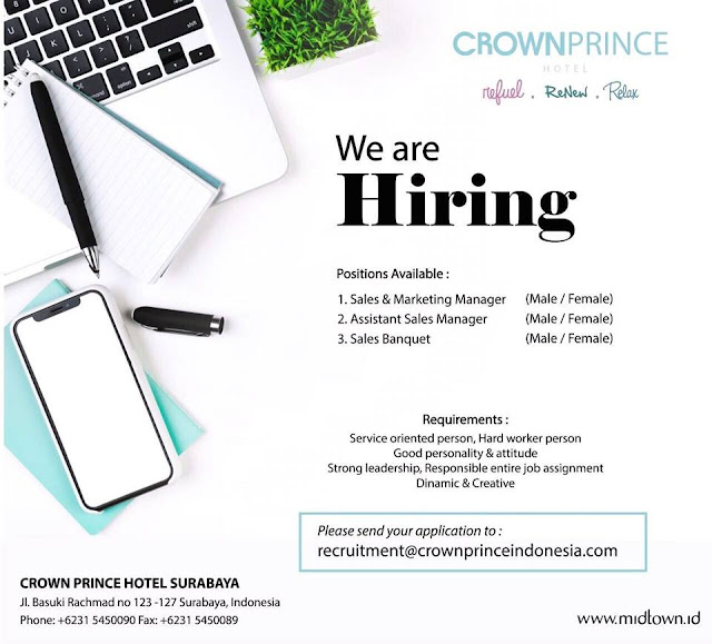 lowongan kerja assistant sales manager crown prince Hotel