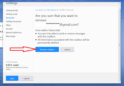 Want to remove your added Gmail account from your yahoo account?