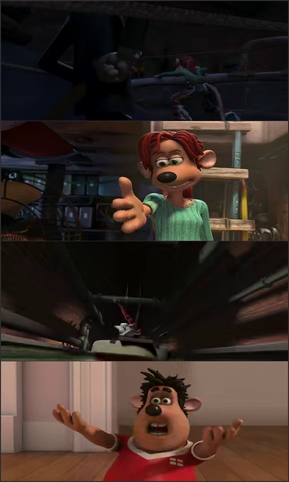 Screen Shot Of Flushed Away 2006 300MB Full Movie Hindi Dubbed Free Download 480P BRRip Small Size PC Movie