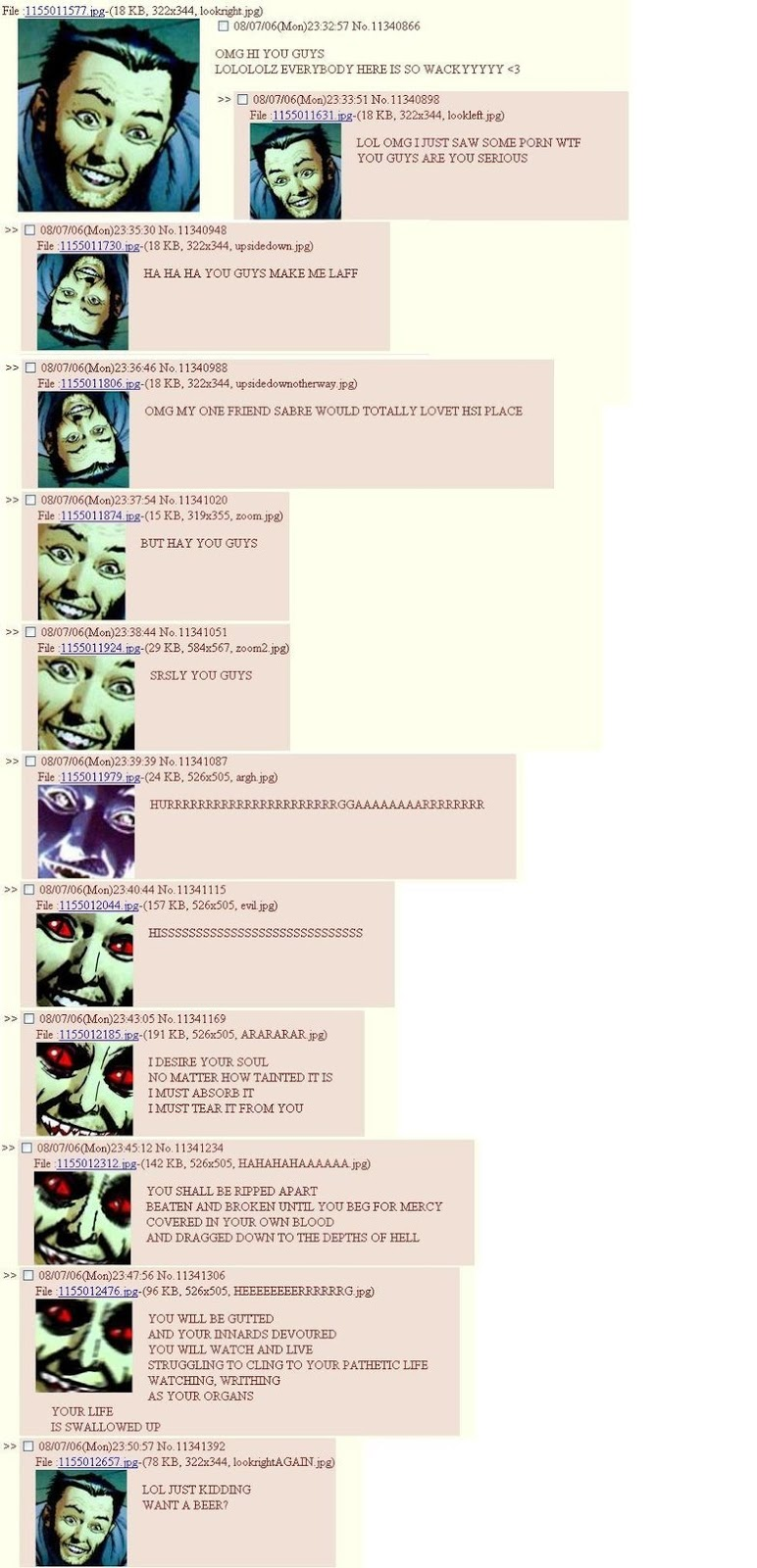 An incredibly creepy yet funny greentext