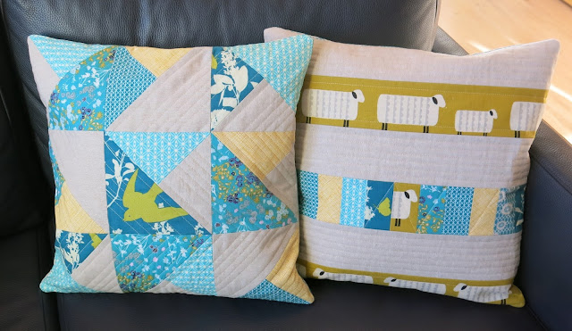 Teal and mustard yellow quilted cushions - Front side