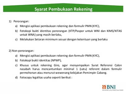 Syarat Pembuatan Rekening di Bank BNI