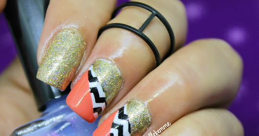 Chevron color block nails