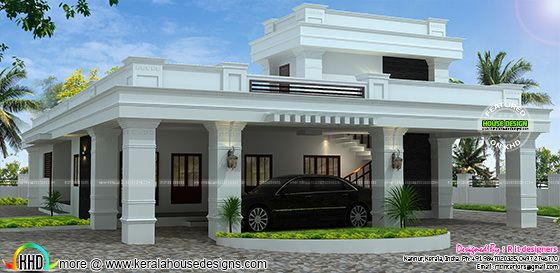 Single floor decorative flat roof house