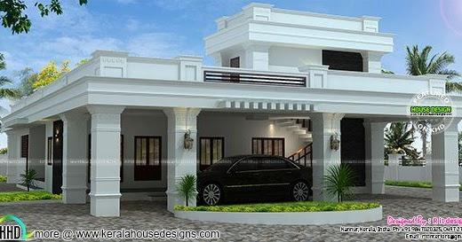 Single Floor Decorative Flat Roof House Kerala Home