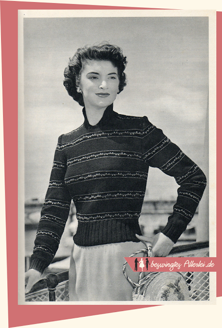 The Vintage Pattern Files: Free 1950s Knitting Pattern - Gestrickter Damenpullover
