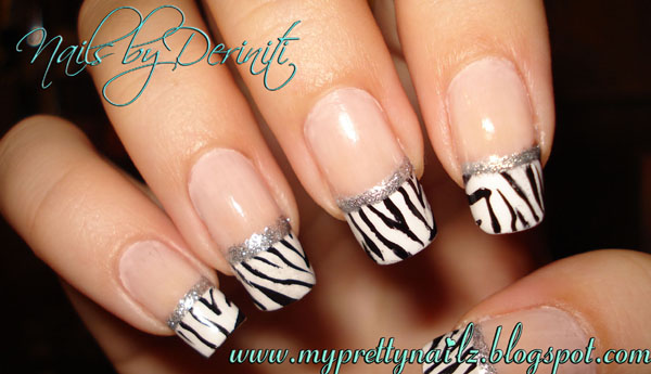 Zebra print french tips nail art stamping design