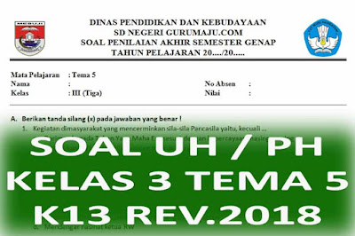 Soal UH / PH Kelas 3 Tema 5 Kurikulum 2013 Revisi 2018