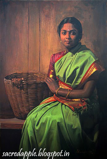 Tamil Girl with Kuddai or Basket