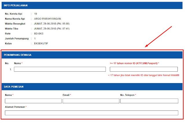 isi form data penumpang kereta api