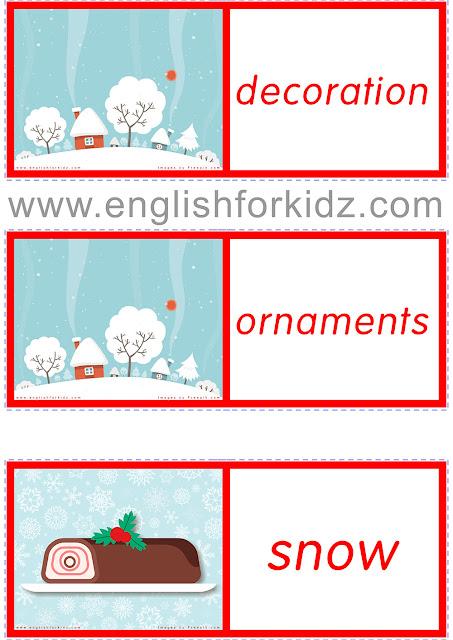 Christmas vocabulary domino game