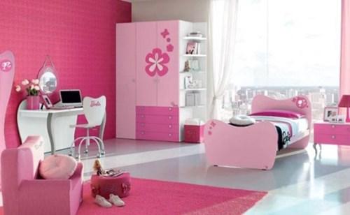 Contoh lemari pakaian anak perempuan warna pink
