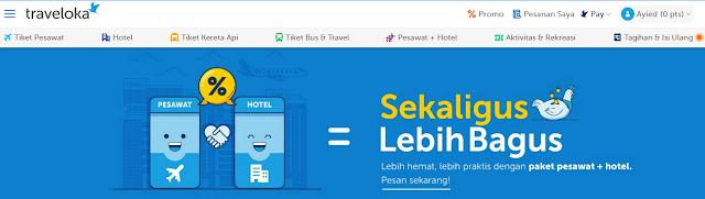 Contoh Pemesanan Tiket dan Hotel di Traveloka