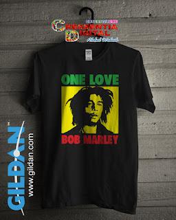 Baju Kaos Distro Bob Marley Poster Warna Hitam
