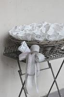 cestino con sacchetti riso per matrimonio