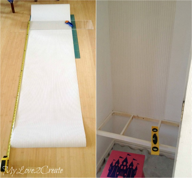 MyLove2Create, Hall Closet Makeover, measuring bead board wall paper