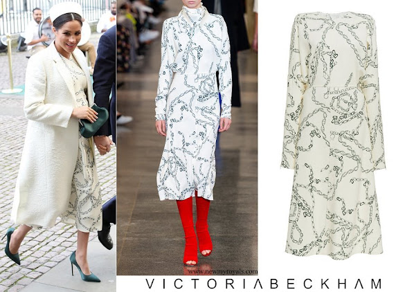 Meghan Markle wore Victoria Beckham Printed Crepe Long Sleeve Midi Dress