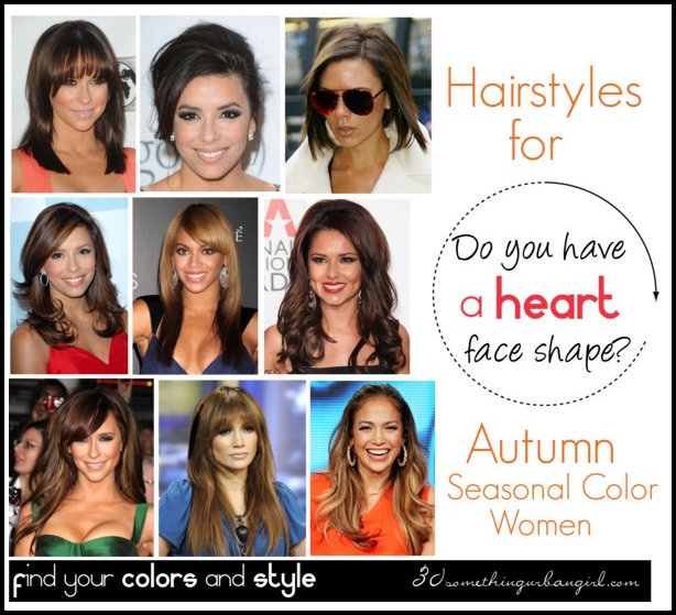 The best hairstyles for Autumn seasonal color women with heart face shape