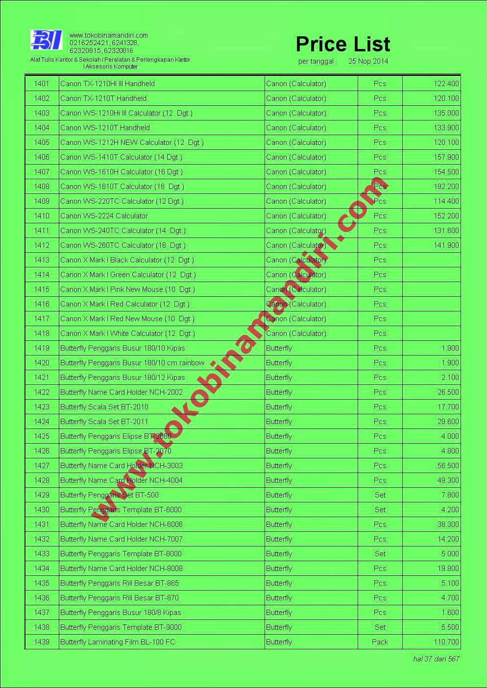 Daftar Harga Alat Tulis ATK037 - Canon kalkulator, Butterfly penggaris