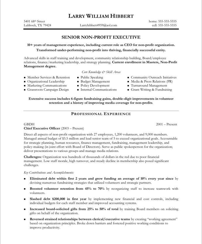 non profit resume samples