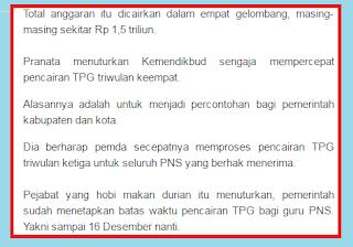 gambar Pencairan TPG Triwulan 4 Guru Non PNS Dipercepat