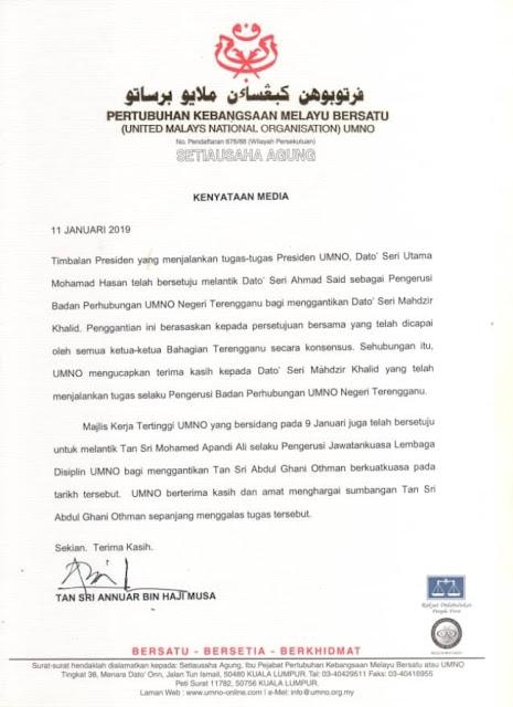 Pelantikan Ahmad Said sebagai Pengerusi Badan Perhubungan UMNO Negeri Terengganu
