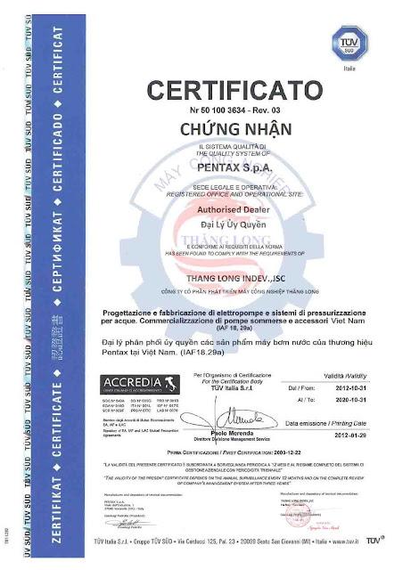 Chứng nhận phân phối máy bơm nước Pentax Italy
