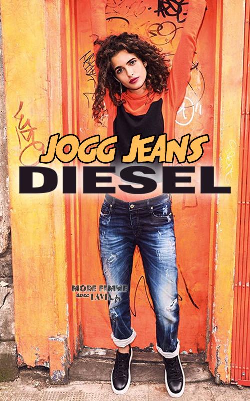 Joggjean bleu usé femme DIESEL