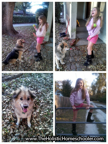 collage of little girl and dog