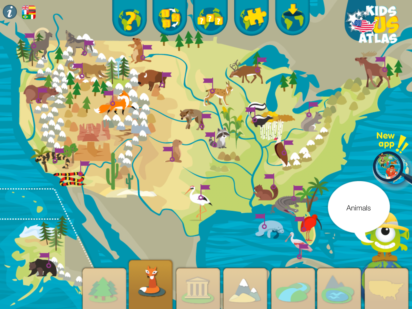 Interactive United States Map Quiz, Kids Us Atlas Provides A Nice Way For Elementary School Students To Learn About Animals Indigenous To The United States A Follow Up Activity To Students, Interactive United States Map Quiz