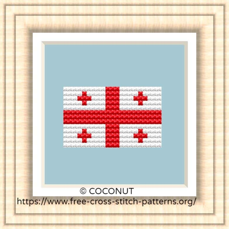 NATIONAL FLAG OF GEORGIA CROSS STITCH CHART