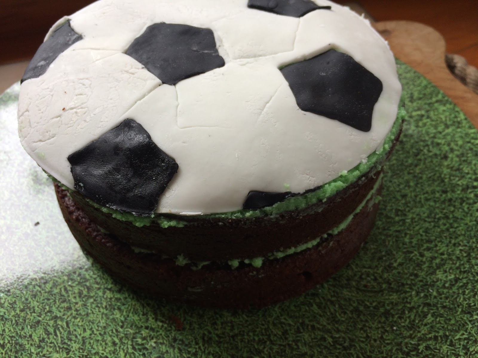DIY Fondant Soccer Ball Cake Topper - a bit wobblybut made with love and received with joy