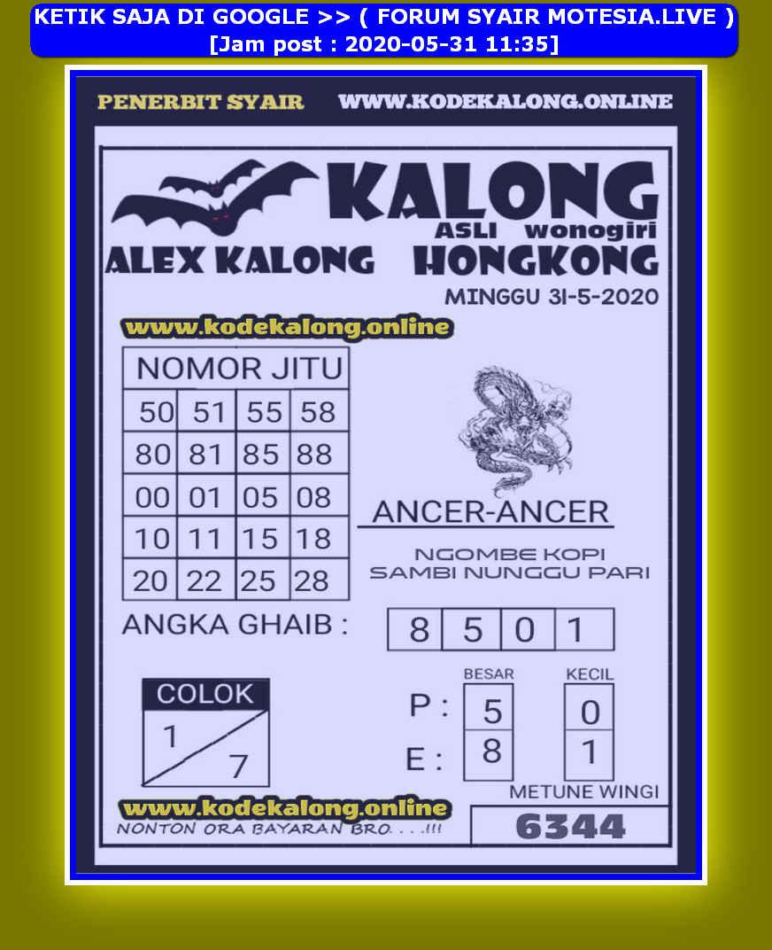 Kode syair Hongkong Minggu 31 Mei 2020 154