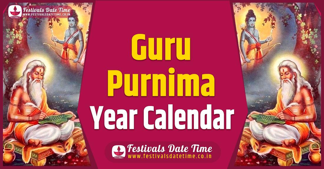Guru Purnima Year Calendar, Guru Purnima Pooja Schedule