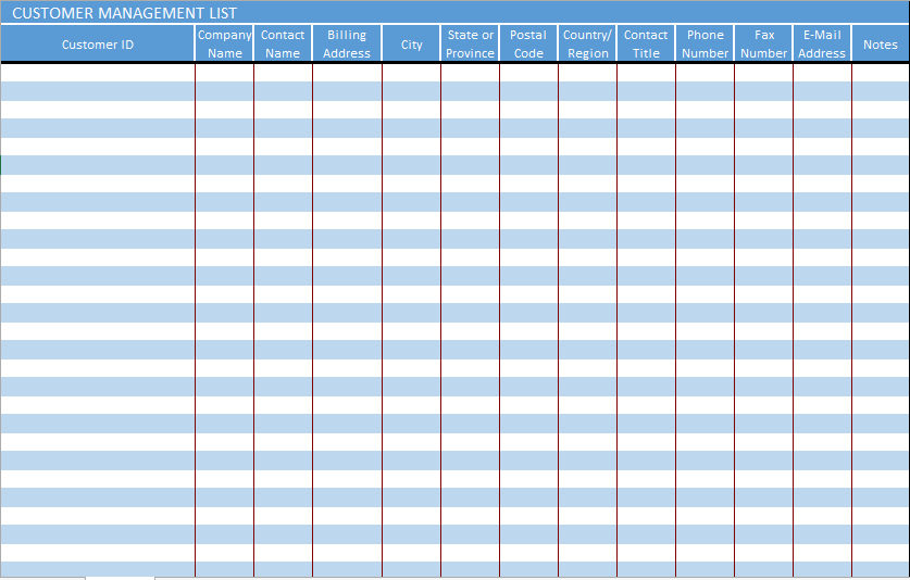 Customer List Template. Get Excel Contact List Template