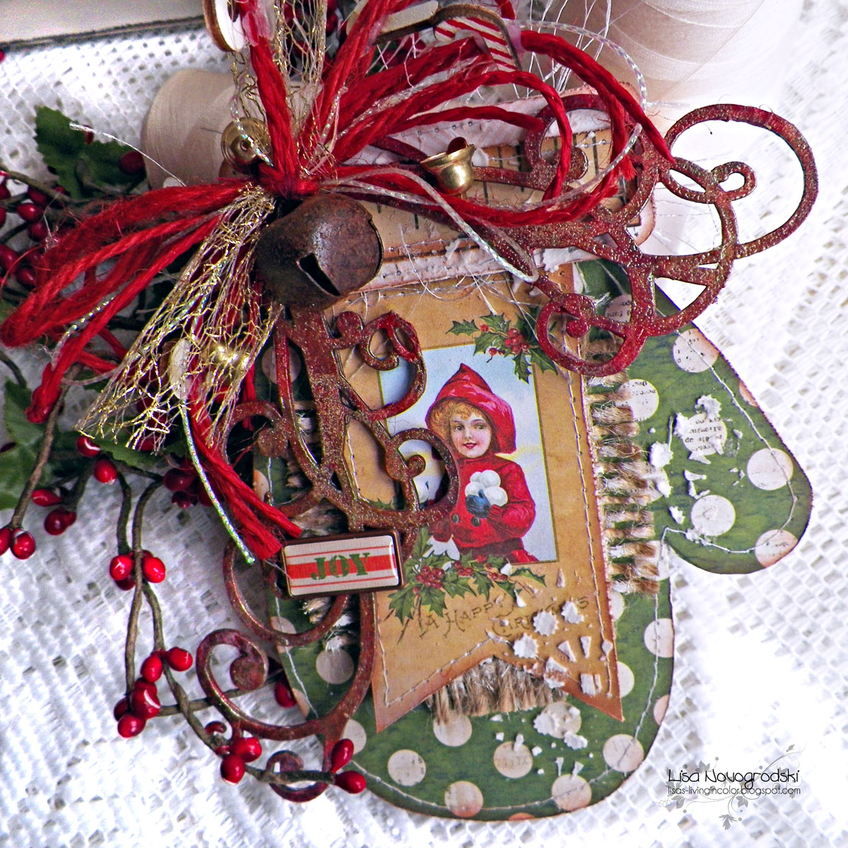 Joy Card by Lisa Novogrodski using BoBunny Christmas Collage