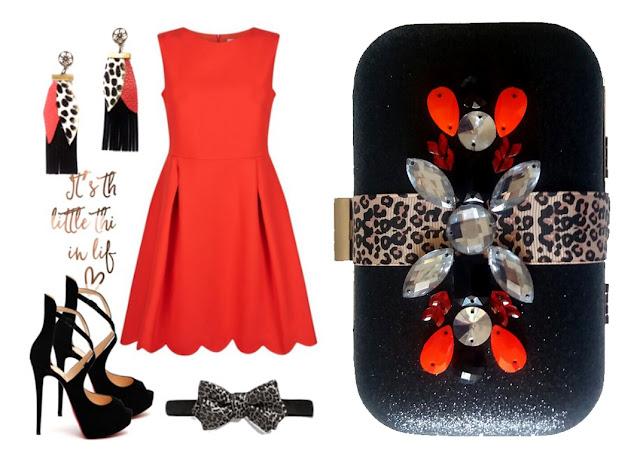 Invitada a boda con vestido rojo y complementos