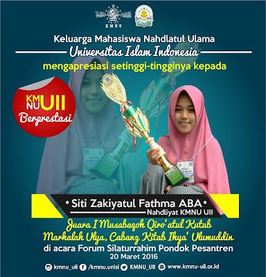 KMNU UII Berprestasi (1) Siti Zakiyatul Fathma ABA