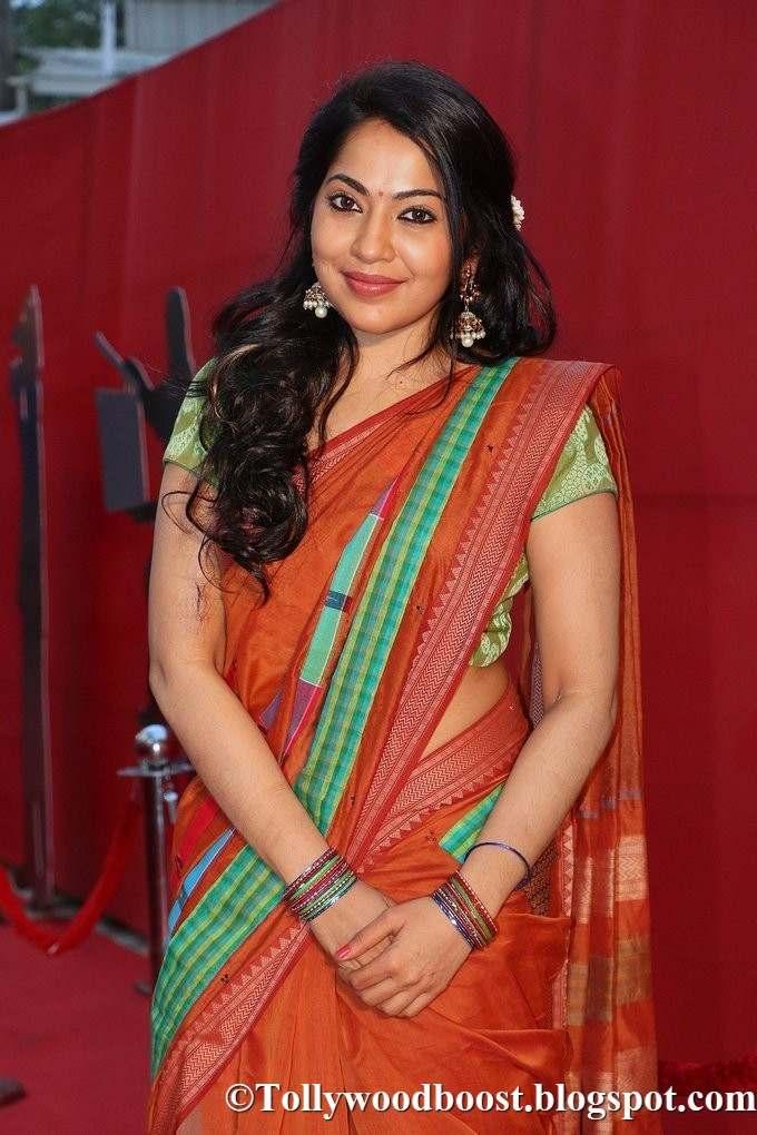 Tamil VJ Ramya Photos In Orange Saree At G Studio launch