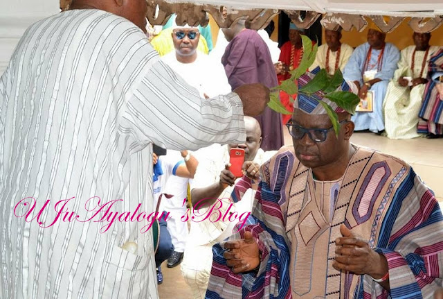 See Governor Ayo Fayose Hugging His Mother Tightly at His Chieftaincy Title Conferment (Photos)