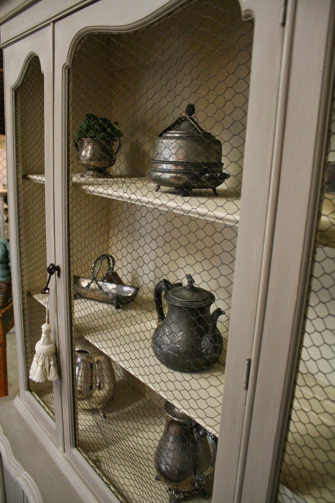 Reloved Rubbish French Provincial Hutch With Chicken Wire