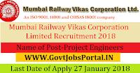 Mumbai Railway Vikas Corporation Limited Recruitment 2018– 18 Project Engineers
