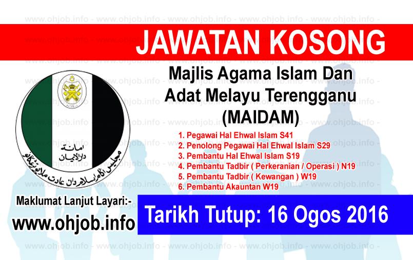 Jawatan Kerja Kosong Majlis Agama Islam Dan Adat Melayu Terengganu (MAIDAM) logo www.ohjob.info ogos 2016