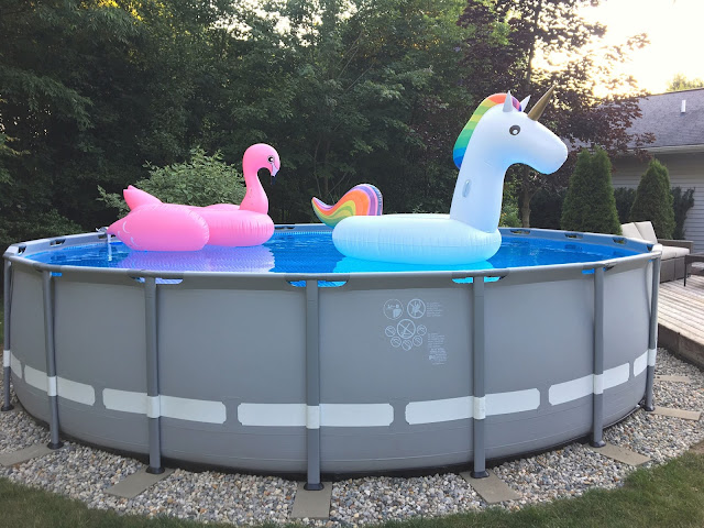 Intex pool landscaping ideas, Intex Pool border, 20 ft Intex pool, Giant unicorn pool float, Giant flamingo pool float