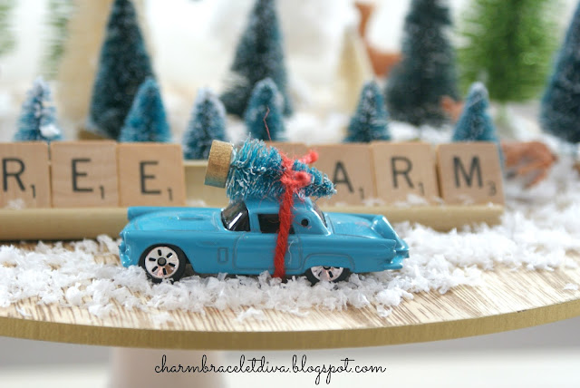 bottle brush trees blue vintage roadster tree on roof