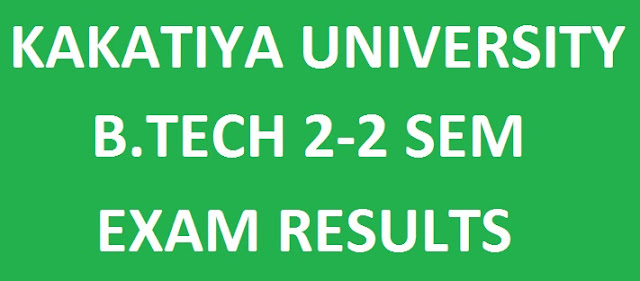 Kakatiya University B.Tech 2nd Year 2nd Sem Results manabadi