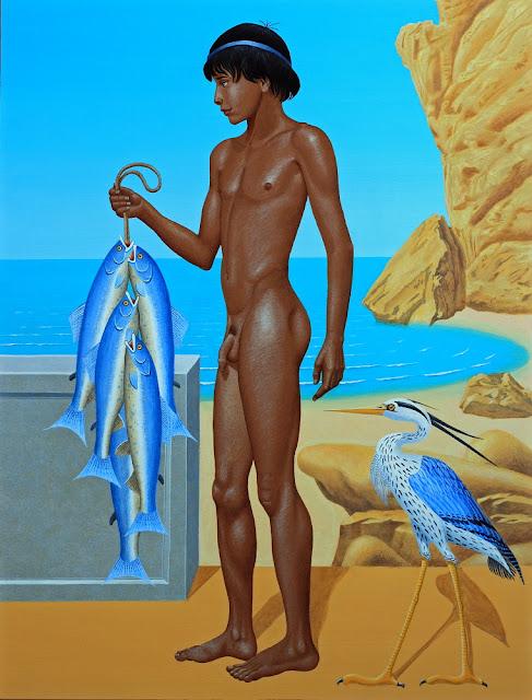 éphèbe nu, fresque, garçon nu, mythologie, mythologie grecque, Peintures mythologie, Symbolisme, pêcheur, héron, Acrotiri, Santorin, Cyclades, Thira, poisson, phénix, fresque pompéienne,