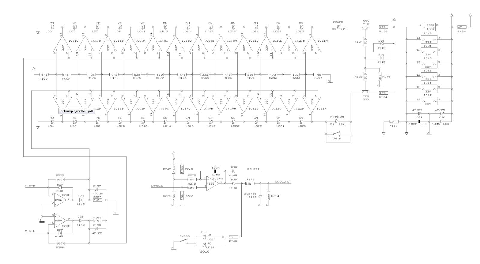 Behringer MX-1602A vu-meters schematic
